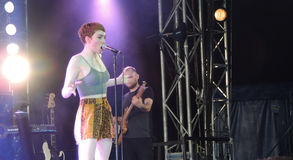 Chloe Howl at The Isle of Wight Festival. Chloe Howl singing in the Big Top at The Isle of Wight Festival in June 2104 Royalty Free Stock Image