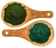 Chlorella ans spirulina supplement powder. Top view of  wooden spoons Stock Image