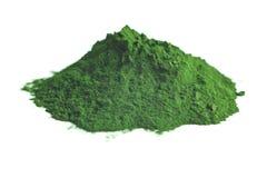 Chlorella or green barley. Detox superfood. Spirulina powder royalty free stock images