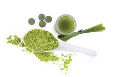 Chlorella, spirulina and wheat grass. Royalty Free Stock Photos
