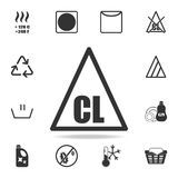 Only chlorinated bleaches are allowed icon. Detailed set of laundry icons. Premium quality graphic design. One of the collection i. Cons for websites, web design Royalty Free Stock Photos