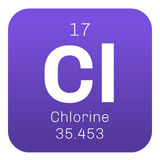 Chlorine chemical element. Chlorine, chemical element. Strong oxidizing agent. Colored icon with atomic number and atomic weight. Chemical element of periodic Stock Photo
