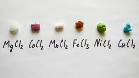 Chlorku magnezu chlorku kobaltu chlorku manganu chlorku żelazowy nikiel, groszak fotografia stock