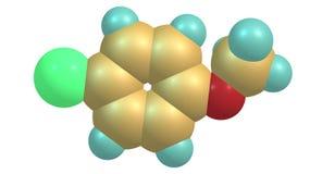 4-chloroanisole cząsteczkowa struktura odizolowywająca na bielu royalty ilustracja