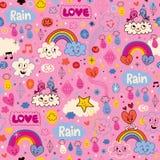 Chmur tęcz ptaków deszczu miłości serc kreskówki wzór ilustracji