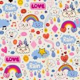 Chmur tęcz ptaków deszczu miłości serc wzór ilustracja wektor