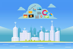 Chmur usługa Mądrze miasto Internet rzeczy pojęcie Obrazy Royalty Free