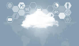 Chmura, światowa mapa i sześciokąty z ikonami, Obrazy Stock