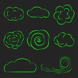 Chmura ustawiająca kreskowa ikona wektoru ilustracja Zdjęcia Stock