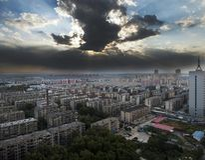 Chmura w mieście rodzinnym Fotografia Stock