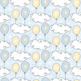 Chmura wzór Śliczny bezszwowy wzór z chmurami i balonami na błękitnym tle Obraz Stock