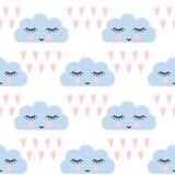 Chmura wzór Bezszwowy wzór z uśmiechniętymi dosypianie chmurami, sercami dla dzieciaków wakacji i Śliczny dziecko prysznic wektor Obraz Stock