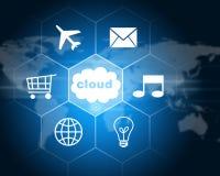 Chmura z ikonami pojęcia odosobniony technologii biel Fotografia Royalty Free