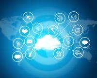 Chmura z komputerowymi ikonami pojęcia odosobniony technologii biel Obraz Stock