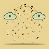 Chmura z muzycznymi notatkami Fotografia Royalty Free