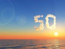 Chmurna liczba pięćdziesiąt nad wodą - 3d rendering Obraz Stock