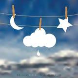 Chmurna opadowa księżyc gwiazda Obraz Royalty Free