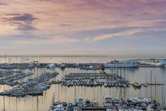 Chmurna portu i Marina Palmy Majorca schronienia Balearic wyspa obrazy stock