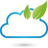 Chmurnieje i liście, IT usługa i Internetowy logo, ilustracji