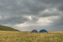 chmurnieje namioty Obrazy Royalty Free