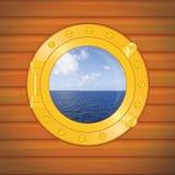 chmurnieje porthole morze ilustracja wektor
