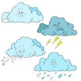 Chmurnieje postać z kreskówki chmury ustawiać Pogoda Fotografia Stock