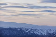 chmurnieje soczewkowatego Północne Ural góry krajobraz, Rosja Obraz Royalty Free