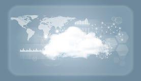 Chmurnieje z światową mapą, siecią i wykresami, Fotografia Royalty Free
