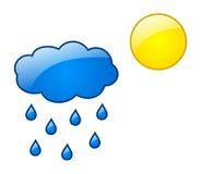 Chmurnieje z raindrops i słońcem z glansowanym skutkiem Obraz Stock