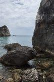 Chmurny dzień na Piso Krioneri plaży Parga Grecja Zdjęcia Stock