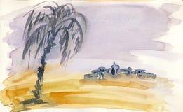 Chmurny dzień w pustyni Obraz Stock
