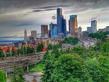 Chmurny i deszczowy dniu w Seattle Washington Fotografia Royalty Free