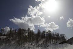 Chmurny niebo i śnieg Obrazy Stock