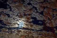 Chmurny nocne niebo z księżyc i gwiazdą Elementy ten wizerunek Zdjęcia Stock
