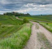 Chmurny ranek na wsi w Tuscany Zdjęcia Stock