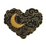 Chmurny serce z księżyc również zwrócić corel ilustracji wektora Obrazy Royalty Free