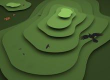 chmury caucasus kształtują obszar gór górskich shurovky ushba nieba Płaska projekt ilustracja 3 d czynią ilustracja wektor