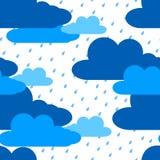 Chmury i deszczu bezszwowy wzór Zdjęcie Royalty Free
