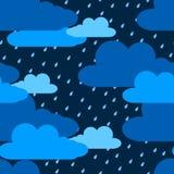 Chmury i deszczu bezszwowy wzór Obrazy Royalty Free