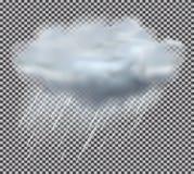 Chmury i deszczu krople na Przejrzystym tle Wektorowy illustrat royalty ilustracja