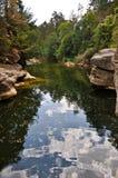 Chmury i liść na rzece Obrazy Royalty Free