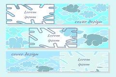 Chmury i niebo w Japońskiego stylu płaskim projekcie Set nowo?ytni horyzontalni projekt?w szablony dla pokryw, wizyt?wki, magazyn ilustracja wektor
