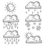 Chmury i pogody nakreślenie Obrazy Stock