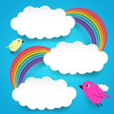 Chmury i tęcza z ślicznymi ptakami Zdjęcie Stock