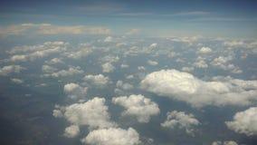 Chmury i ziemia Widok od płaskiego okno Zdjęcia Stock