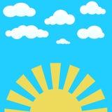 Chmury na niebieskim niebie i żółtym powstającym słońcu royalty ilustracja