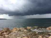 chmury nad burzą drogą morską Zdjęcie Stock
