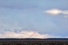 Chmury nad jesieni polami Fotografia Royalty Free