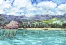 Chmury nad morzem, wybrzeże, wzgórze ilustracja wektor