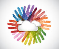 chmury nad różnorodność ręk okręgiem ilustracja wektor